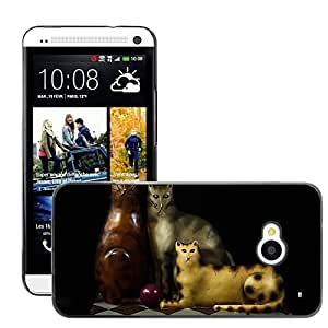 Super Stella Slim PC Hard Case Cover Skin Armor Shell Protection // M00148921 Cats Felines Tchotchke Carved Wood // HTC One M7