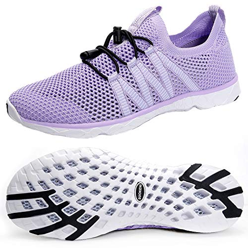 SUOKENI Women's Quick Drying Slip On Water Shoes for Beach or Water Sports Purple