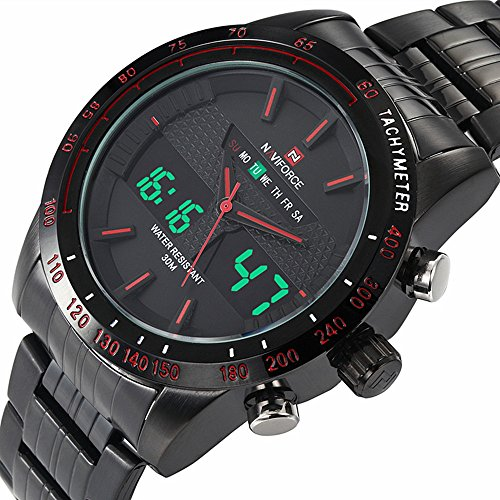 Price comparison product image Luxury Naviforce Brand Full Steel Quartz Digital LED Watch Army Military Watches Sport Watches