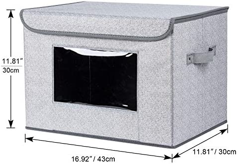 """51zM7gb%2BuQL. AC - Univivi Larger Storage Cubes [2-Pack] Foldable Storage Box With Lid, Collapsible Storage Bin Organizer Basket With Sturdy Handles For Home, Nursery, Closet (16.92 X 11.8 X 11.81"""")"""