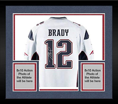 (Framed Tom Brady New England Patriots Signed Authentic White Jersey - Steiner Sports Certified - Autographed NFL Jerseys)