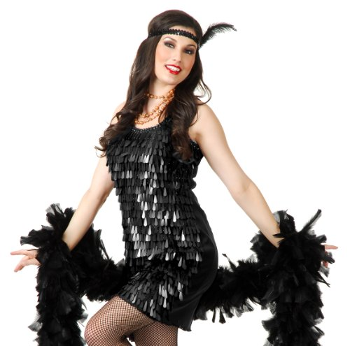 (Charades Sexy Womens Black 20s Flapper Cabaret Halloween Costume Dress)