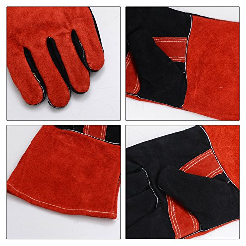 Leather Welding Gloves BOWOO Stitching Heat Resistant Glove for Tig/Mig/Stick/Gardening 14IN,1 pair (Red-Black) by BOWOO (Image #3)