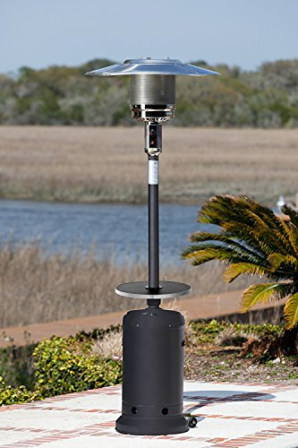 Golden Flame 46,000 BTU [XL-Series] Matte-Black Patio Heater w/Drink Table and Wheels (Propane)