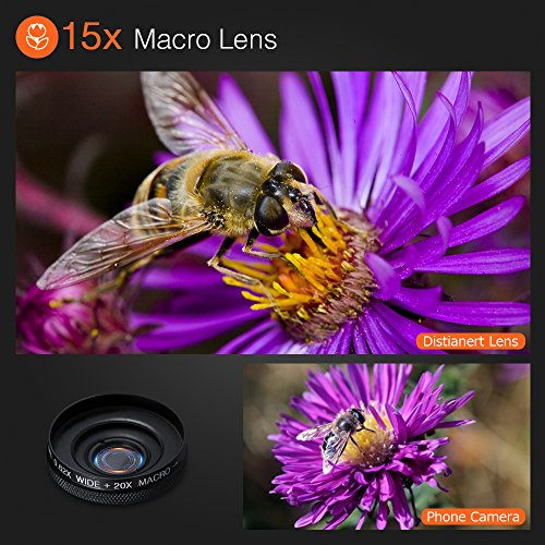 6-in-1 Cell Phone Camera Lens Kit, 12x Telephoto Zoom Lens, 0.62x Wide Angle & 20x Macro, 235° Fisheye, Starburst, and Professional CPL Lens+ Phone Holder & Tripod for iPhone X/8/7/6/6s Plus, Android, by Distianert (Image #3)