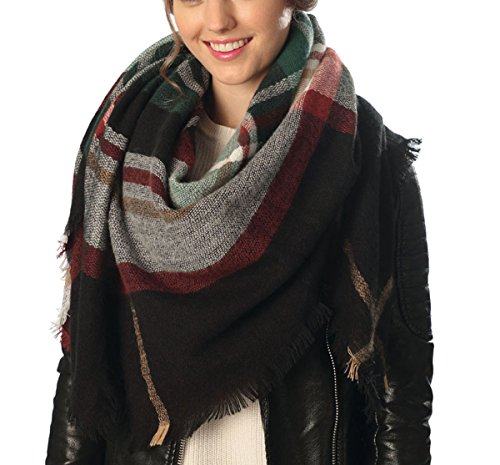 Women's Warm Oversized Checked Tartan Blanket Scarf Wrap Shawl With Brooch(Tartan,Black) Over Scarf