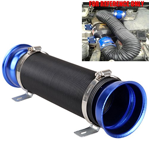Turbo Air Intake Pipe (Iglobalbuy Universal Washable Blue 3 Inch Multi Flexible Adjustable Motor Turbo Cold Air Intake Inlet Pipe Hose Tube)