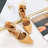 SDKIR-Summer flat heels sexy point cross with sandals wild light port single women 37 Brown