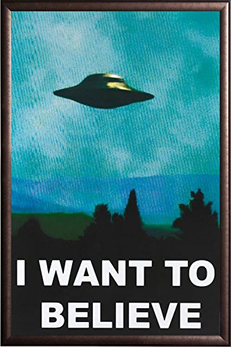 FRAMED I Want to Believe 24x36 Poster in Real Wood Premium C