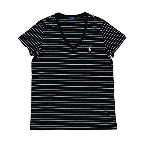 Polo Ralph Lauren Womens V-Neck Jersey T-Shirt (Medium, Black White Stripes) (Ralph Lauren Clothing Women)