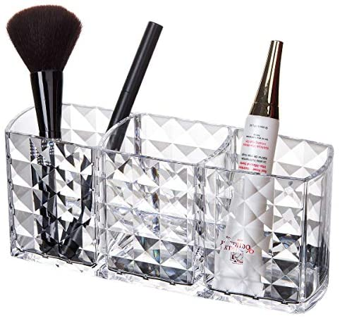 Shining Makeup Brushes Holder Organizer, Clear Cosmetic Container, 3 Slot Acrylic