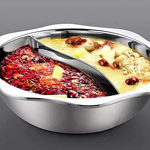 WYQ Acier Inoxydable Sun Pot, Canard Mandarin Hot Pot Pot, Cuisinière à Induction Pot, Sun Pot Soupe Claire Pot Accueil,36cm