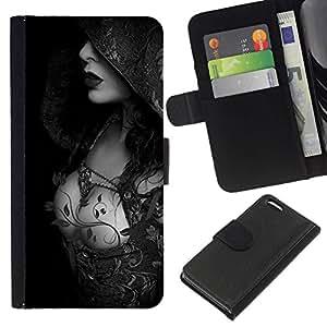 All Phone Most Case / Oferta Especial Cáscara Funda de cuero Monedero Cubierta de proteccion Caso / Wallet Case for Apple Iphone 5C // Hood Lady Breast Black White