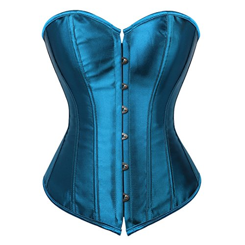 Kranchungel Women's Sexy Satin Overbust Corset Lace up Boned Busiter Shapewear Outfit Large Teal Blue - Teal Corset