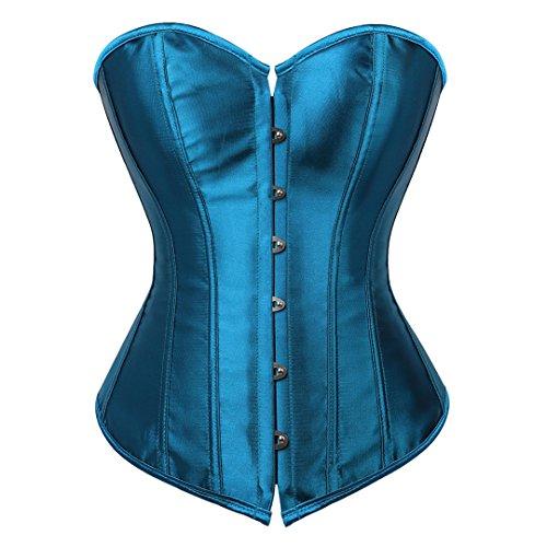 Kranchungel Women's Bustier Corset Sexy Satin Brocade Overbust Waist Cincher Shapewear Top Small Teal - Lace Corset Up Blue