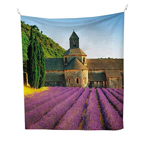 LavendertapestryAbbey of Senanque in France Architecture Countryside Blooming Rows Scenic 40W x 60L inch Wall tapestryTan Violet Green