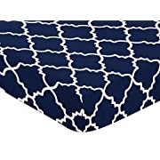 Navy Blue and White Modern Baby or Toddler Fitted Crib Sheet for Trellis Lattice Collection by Sweet Jojo Designs
