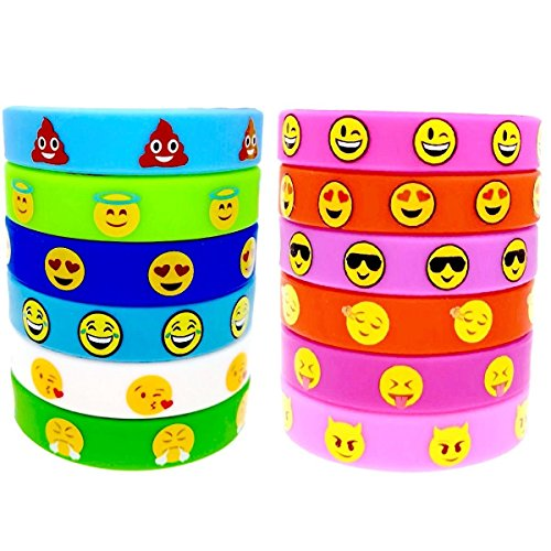 WISWIS 50 Assorted Emoji Wristband Bracelets - Emotion Silicone Birthday Party Favor Toys Pack for Kids by WISWIS