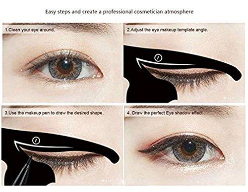 ForUBeauty 2 in 1 Cat Eye Eyeliner Stencil Black Cat Shape Eye liner & Eye Shadow Guide Template Pack of 5
