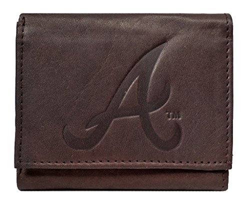 Rico Atlanta Braves MLB Embossed Logo Dark Brown Leather Trifold (Atlanta Braves Credit Card)