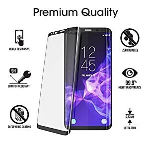 For Galaxy S9 Tempered Glass Screen Protector,Basbeth[9H Hardness][3D Curved Edge Full Coverage][Anti-Fingerprint][No Bubble]Tempered Glass Screen Protector for Galaxy S9(Black) by Hartser