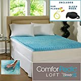 Beautyrest 2-inch Sculpted Gel Memory Foam Mattress Topper Sleep Mask & Comfortable Pair of Corded Earplugs Included (Queen)