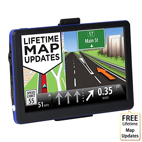 GPS Navigation for Car, 7 inch 8GB Touchscreen Voice Reminding Vehicle GPS Navigator System Free Lifetime Map Update with Car Charger, back Bracket, Mount