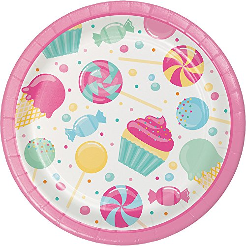 Creative Converting 324829 96 Count Dessert/Small Paper Plates, Candy Bouquet
