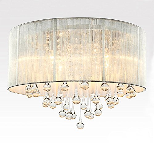 (LightInTheBox MAX40W Flush Mount ModernTraditional/Classic Rustic/Lodge Retro Lantern Drum Ceiling Lighting Fixture Brushed Feature Crystal Fabric Chandeliers for Kitchen, Bedroom, Living Room)