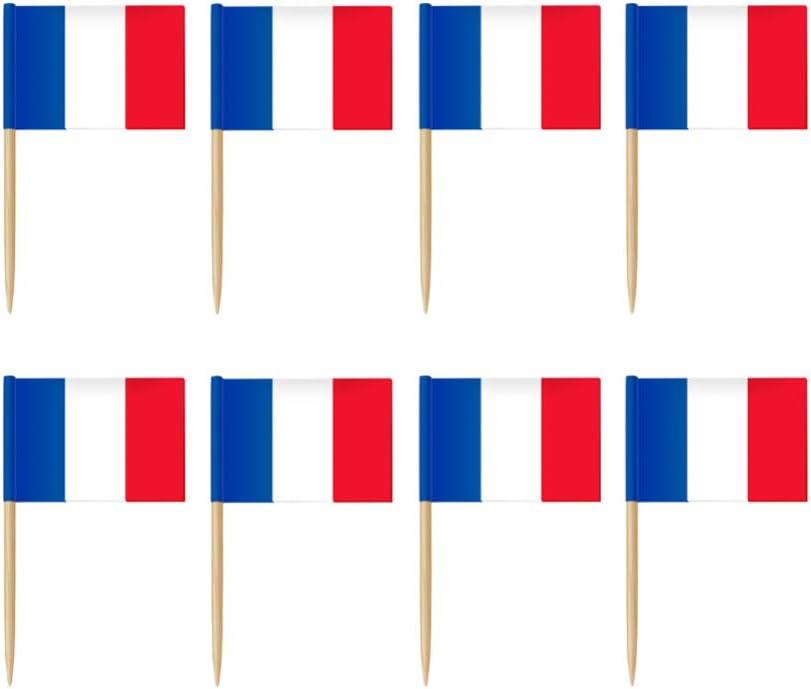 Amosfun 100 St/ücke Mini Frankreich Flagge Cupcake Topper Frankreich Zahnstocher Flagge Holz Zahnstocher Cocktail Obst Picks f/ür Welt Land Sport Party Dekoration