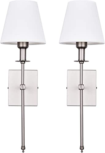 Pauwer Slim Wall Sconce Set of 2 White Fabric Shade Wall Sconce Hardwired Indoor Wall Light Column Stand Bedroom Wall Lamp Bathroom Vanity Light Fixture