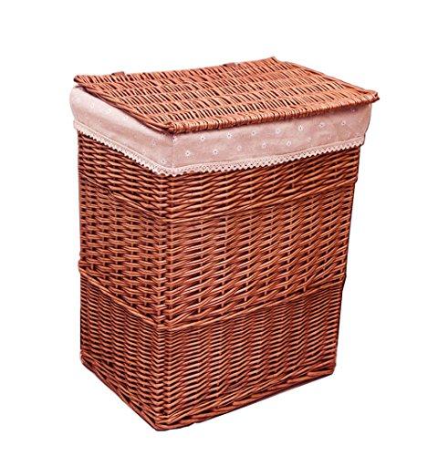 A Basket Cesta de Almacenamiento de ratán,Caja de Almacenamiento de Ropa Cesta Tejida de Mimbre con Cubierta, para el...