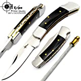 """Cheap F&f Expo Beautiful Buffalo Horn 6.5"""" Handmade Stainless Steel Folding Pocket Knife Sliver Bloster With Back Lock 100% Prime Quality"""