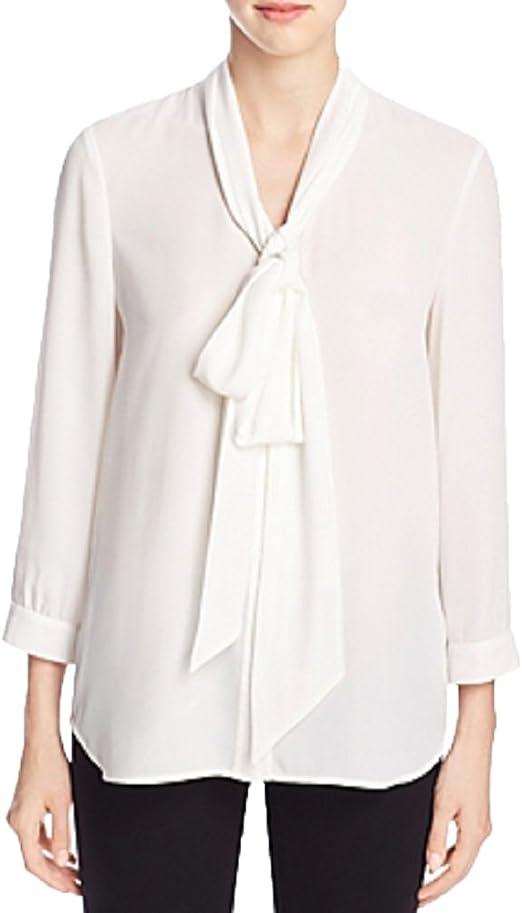 FINITY Blusa de corbata para mujer 6 Blanco: Amazon.es: Ropa y ...