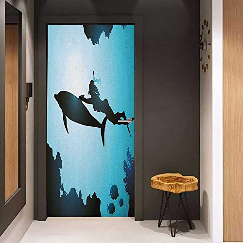 (Onefzc Automatic Door Sticker Dolphin Scuba Diver Girl Swimming with Dolphin Silhouette in Sea Fish Reefs Image Easy-to-Clean, Durable W17.1 x H78.7 Pale Blue Black)