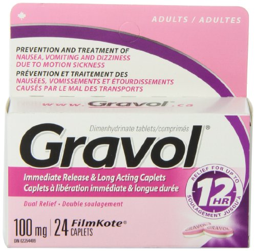 Dual Relief 12 Hour Long Lasting GRAVOL (24 caplets) Antinauseant for NAUSEA, VOMITING, DIZZINESS & MOTION SICKNESS by Gravol (Image #3)
