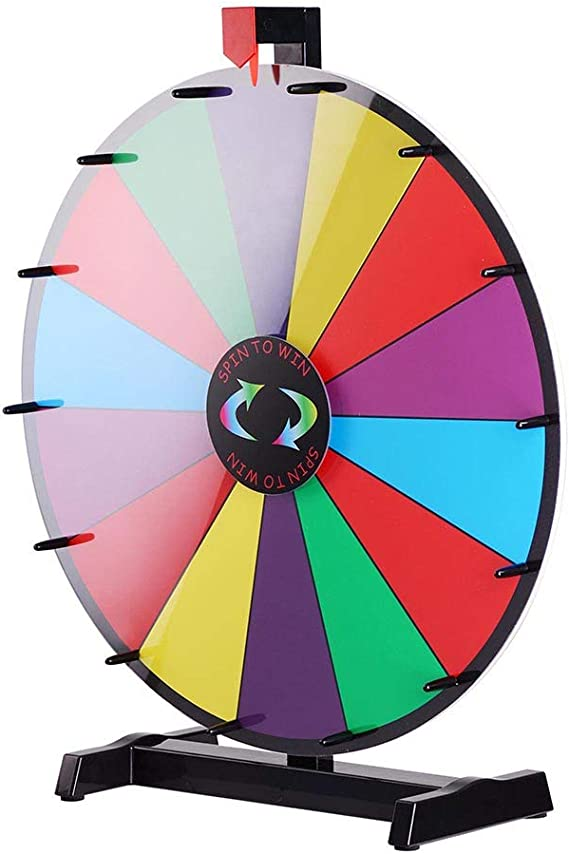 24 Tabletop Spinning Prize Wheel 14 Slots with Color Dry Erase ...