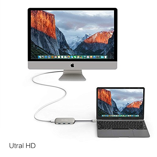HooToo USB C Hub, 6-in-1 USB C Adapter with Ethernet, HDMI, 100W Power Delivery, 3 USB Ports USB C Network Adapter for MacBook Pro & Type C Windows Laptops - Gray by HooToo (Image #3)