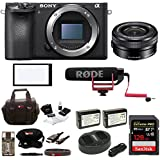 Sony Alpha a6500 Digital Camera w/ SELP1650 16-50mm Power Zoom Lens & Rode Video Mic GO On-Camera Mic Bundle