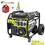 Toucan City Ryobi 7000-Watt Electronic Fuel Injected (EFI) Gasoline Powered Electric Start Portable Generator RY907000FI and Gas Can and Voltage Tester