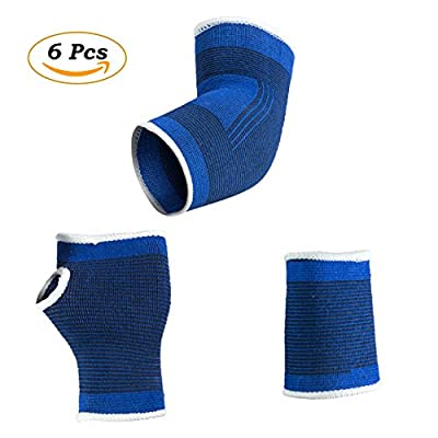 Hand Brace, Wrist Wraps, Elbow Sleeve for Sports Protection and Pain Relief By RelComfo | 6 Pcs Set