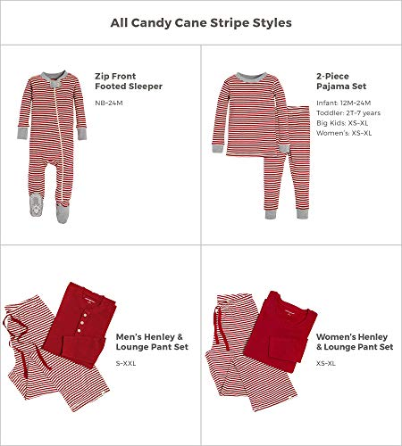 Burt's Bees Baby Family Jammies, Candy Cane Stripe, Holiday Matching Pajamas, 100% Organic Cotton, Womens Henley Small