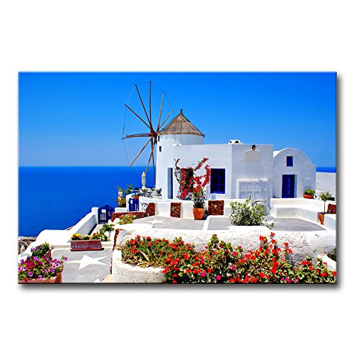 So Crazy Art - Canvas Print Wall Art Painting For Home Decor,Windmill And Blue Sea And Flowers At Oia, Santorini, Greece Paintings Modern Giclee Stretched And Framed Artwork The Picture - Santorini Art Oia Greece Framed