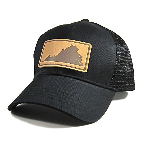 (Homeland Tees Men's Virginia Leather Patch All Black Trucker Hat)