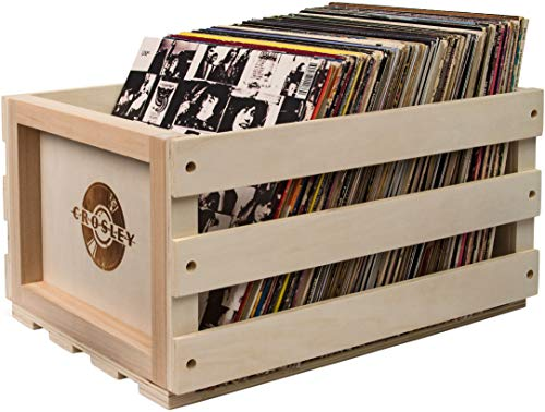 Record Case Holds - Crosley AC1004A-NA Record Storage Crate Holds up to 75 Albums, Natural