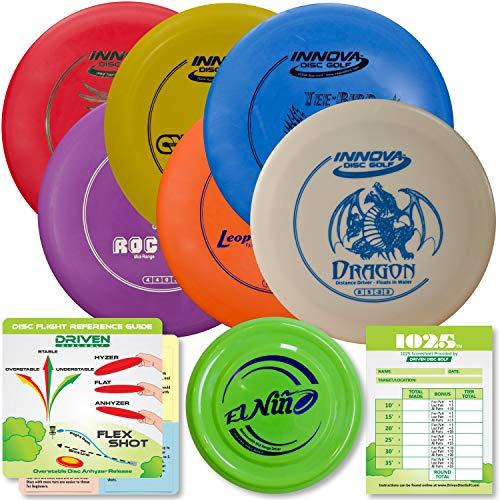 Innova Disc Golf Starter Set   Beginner Discs - 1025 Putting Game - Flight Reference Card - Driven Mini Marker   Disc Colors Vary (6 Disc Set (Colors Vary))