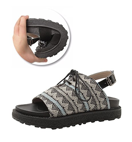 LINNUO Womens Sandals Lace up Platform Wedge Heel Flatform Thick Bottom Summer Beach Roman Shoes Black T8Dm4yxV