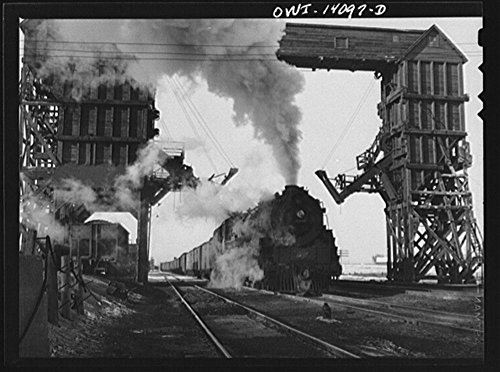 1943 Photo Nelson, Illinois. Chicago and Northwestern Railroad freight stopping for coal and water enroute from Clinton, Iowa to Chicago, Illinois Location: Illinois, Lee County, Nelson