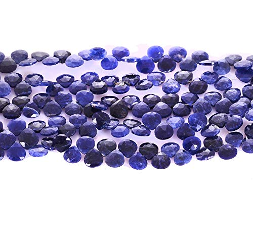 - 10 Strands Natural Afghan Blue Lapis Lazuli Heart Briolette Beads|6-7mm Tear Faceted Beads for Jewelry Making |7