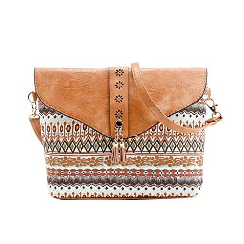 Handbags Clearance Shoulder Brown Sweet Print Pattern Bag Messenger Women Flower ZOMUSA wprf7pqI